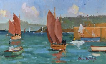 Eric Ward Original Oil Painting Sailing Boats At St Ives Cornwall